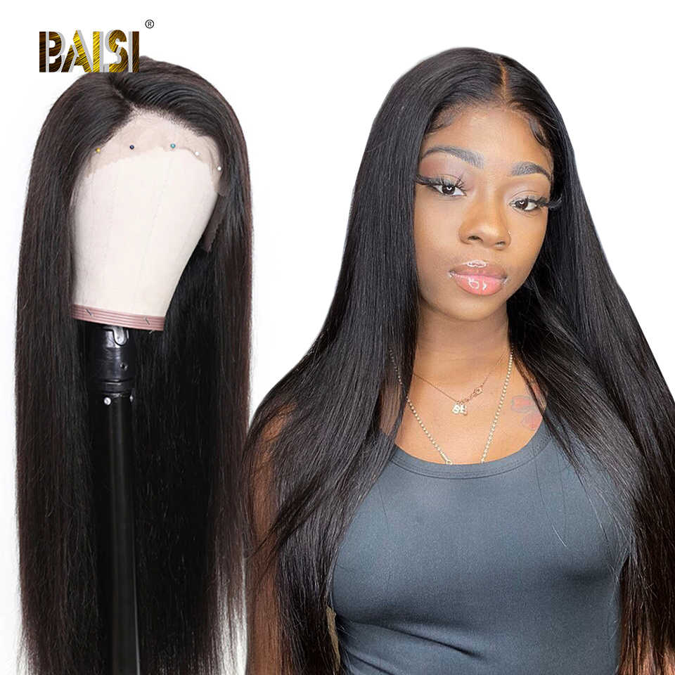 BAISI 360 Lace Frontal Wig Lace Front Human Hair Wigs With Pre-Plucked Hairline Human Hair Wig Straight Wigs Brazilian Hair