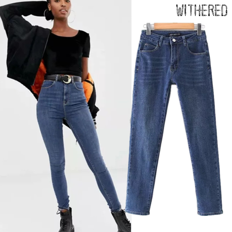 Withered High Street Jeans Woman England Stretch High Waist Jeans Super Skinny Push Up Penci Boyfriend Jeans For Women Plus Size