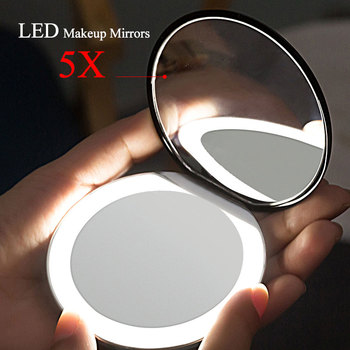 Folding Makeup mirror with led light 5 times Magnifying Cosmetic Mirror beauty ring light mirror Photo fill light small mirrors folding makeup mirror with led light 5 times magnifying cosmetic mirror beauty ring light mirror photo fill light small mirrors