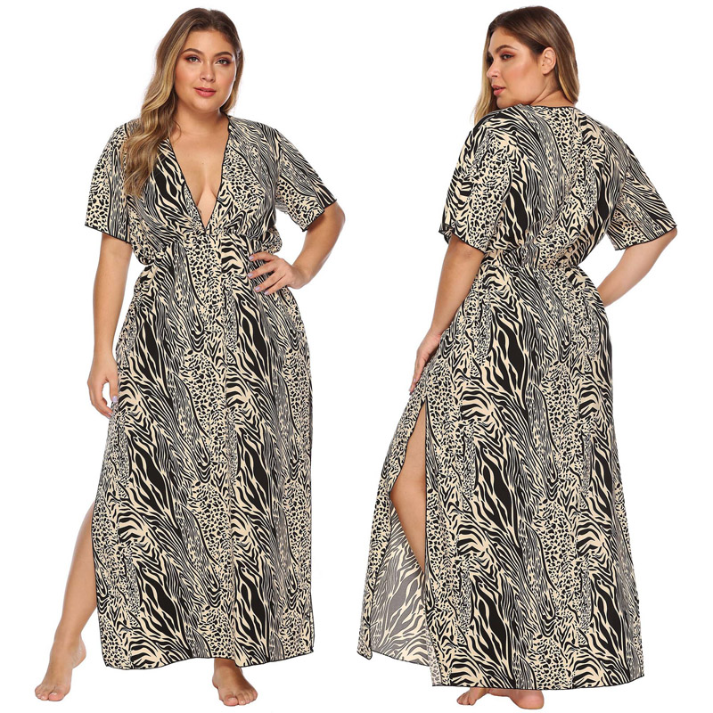 2020 Summer Women Long <font><b>Dress</b></font> Casual Zebra Leopard Print Sundress <font><b>Sexy</b></font> Deep V-neck Short Sleeve Split Beach <font><b>Dresses</b></font> Plus Size <font><b>4XL</b></font> image
