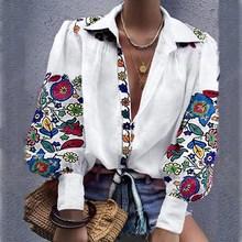 Fall Women Elegant V-Neck Button Leisure Shirt Female Vintage Lantern Sleeve Blouse Indie Folk Loose Floral Print Casual