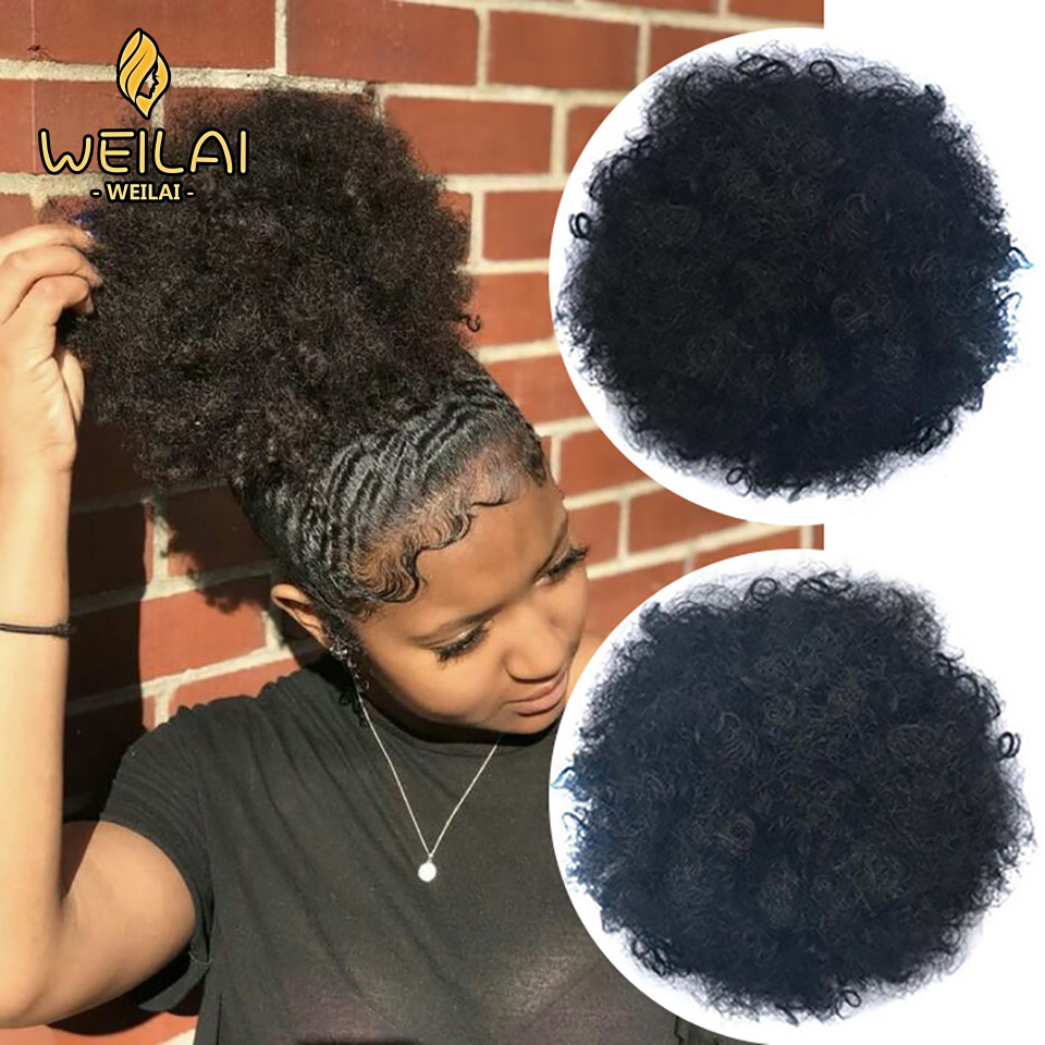 WEILAI Synthetic Curly Hair Ponytail African American Buns Short Afro Kinky Curly Wrap Drawstring Puff Tail Hair Synthetic Buns