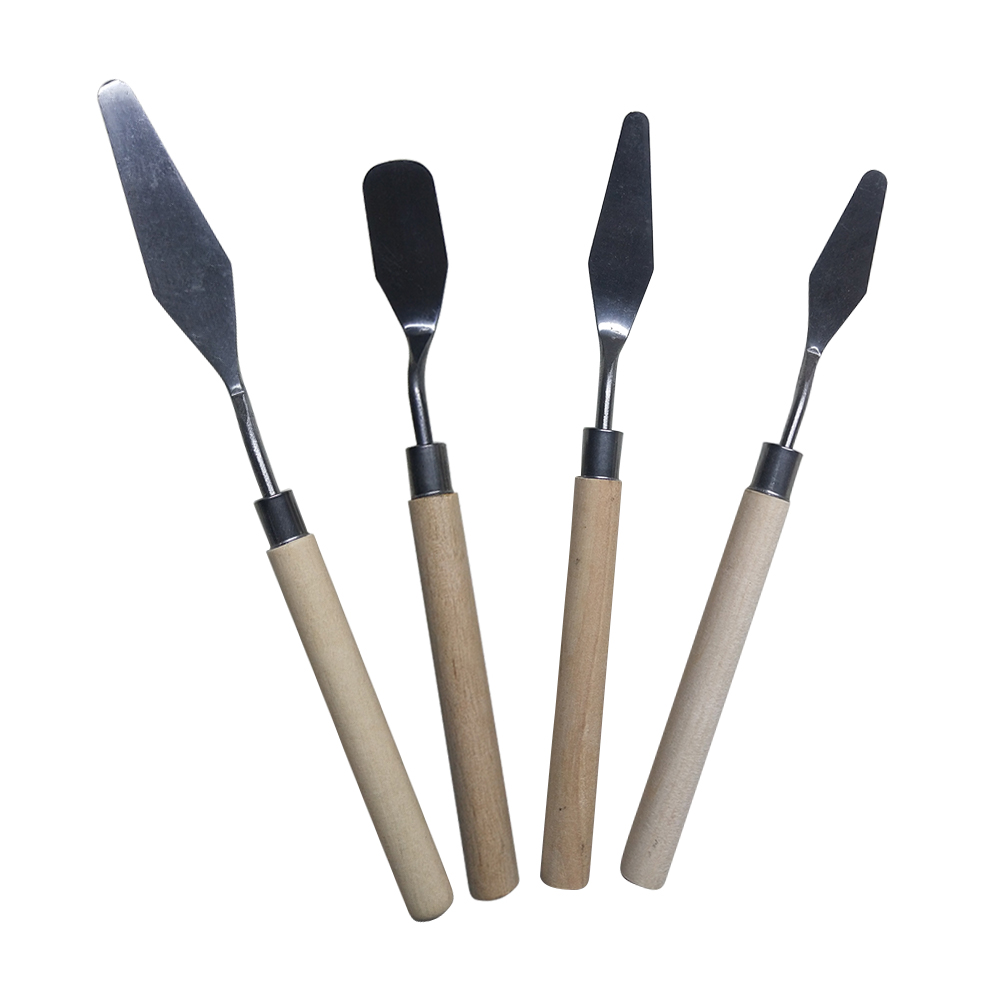 4pcs Scraper Professional Supplies Palette Knife Set Watercolor Spatula Anti Slip Lightweight Stainless Steel Oil Painting Tools 4