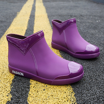 SWYIVY Rubber Shoes Women Waterproof Rain Boots Ankle 2020 New Autumn Female Water Rainboots Flats
