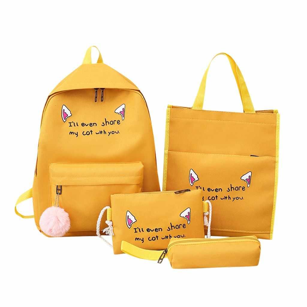 Aelicy Frauen Paket Mode Einfache Stil Multifunktionale Große Kapazität Leinwand Vier-stück Tasche Mode Vier-stück Tasche Rucksäcke