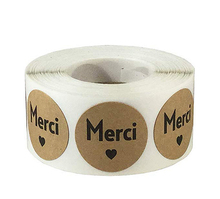 Merci French Thank You Stickers Seal Labels Roll Cute for Cake Packaging Label Stationery Flower 500p Per