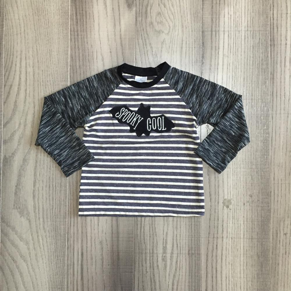 Girlymax Fall/Winter Halloween grey stripe spooky cool cotton top long sleeve t-shirt baby boys raglans boutique kidswear 1