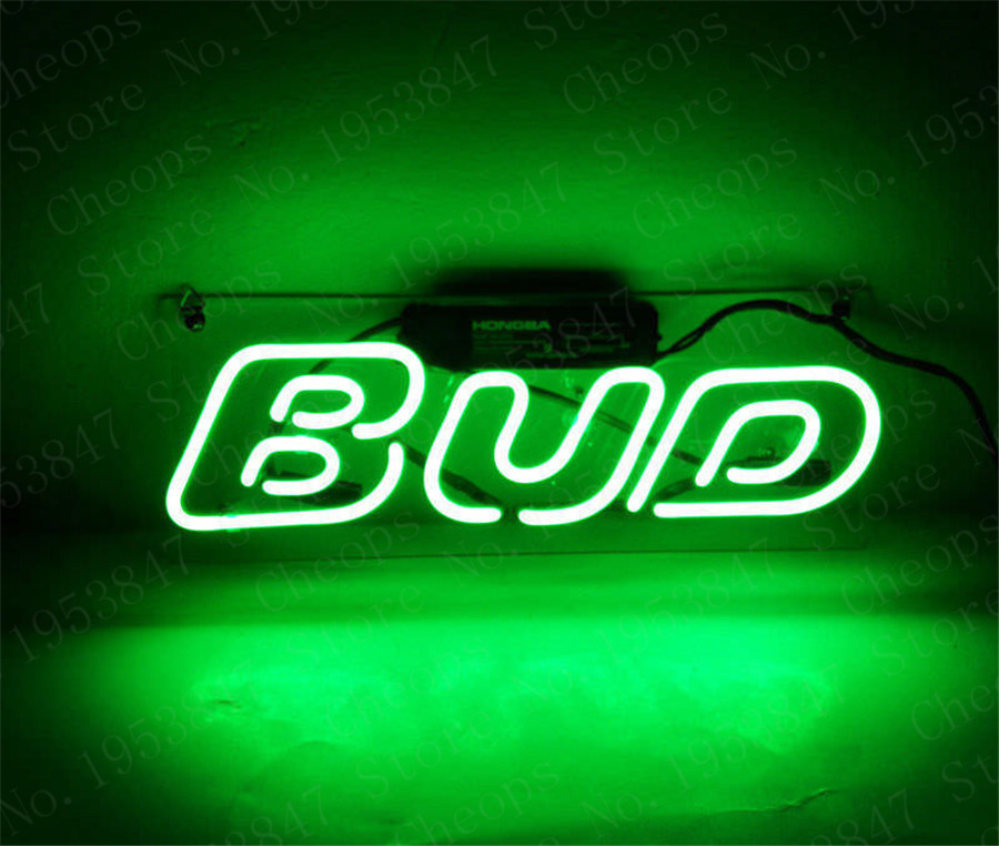 Green Bud Gift Neon Signs Real Glass Tube  Beer Bar Pub Homeroom Girlsroom Party Decor 14x7
