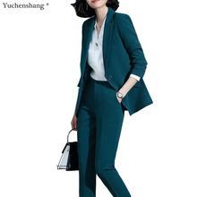 2019 new green women pant suit set blazer jacket & pants tro