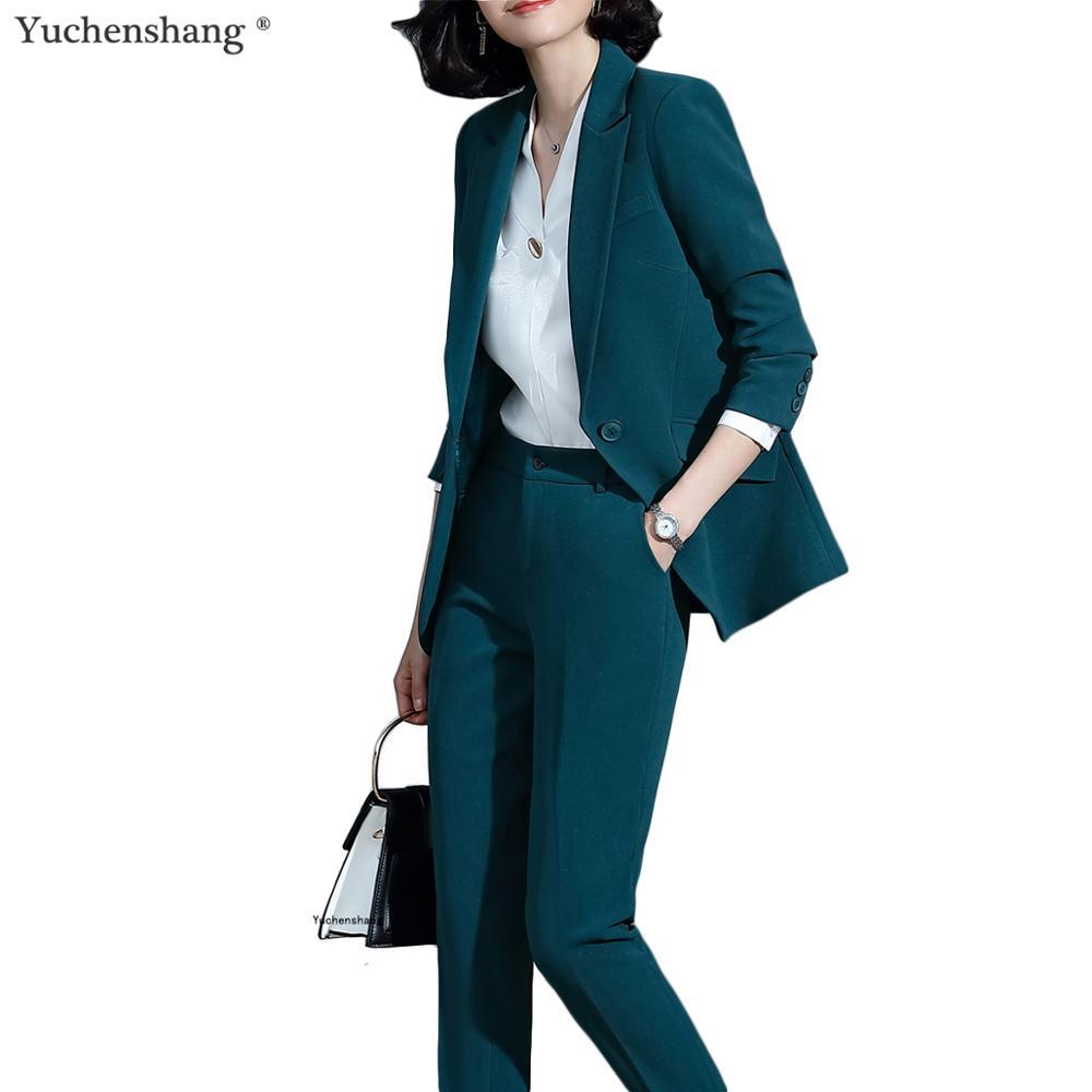 2019 New Green Women Pant Suit Set Blazer Jacket & Pants Trouser 2 Pieces Set Fashion Office Lady Work Wear Suit 5XL
