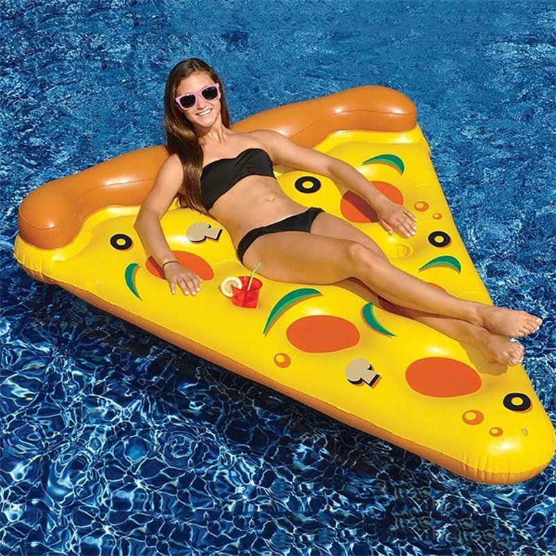 Summer Inflatable Lovely Pizza Shape Swim Pool Floats Raft Air Mattresses Swimming Fun Water Sports Beach Toy For Adult