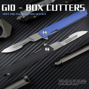 G10 Handle Folding Knife Folding Pocket Utility Knife quick blades ncludes 10 replacement blades