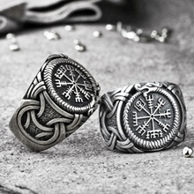 Vintage Mens 316L Stainless Steel Nordic Viking Ring Northern Europe Pirate Compass Amulet Jewelry Best Gift