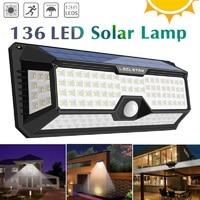 66 128 136 LED oświetlenie zewnętrzne lampa na energię słoneczną z czujnikiem ruchu 3 tryb wodoodporna zasilana energią słoneczną ulica/kinkiet do dekoracji ogrodu w Lampy solarne od Lampy i oświetlenie na