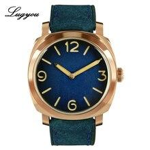Lugyou San Martin Vintage Mannen Horloge Brons Automatische Zwitsers Uurwerk Mode Lederen Band 20 Bar Waterdicht Skelet Terug Glow