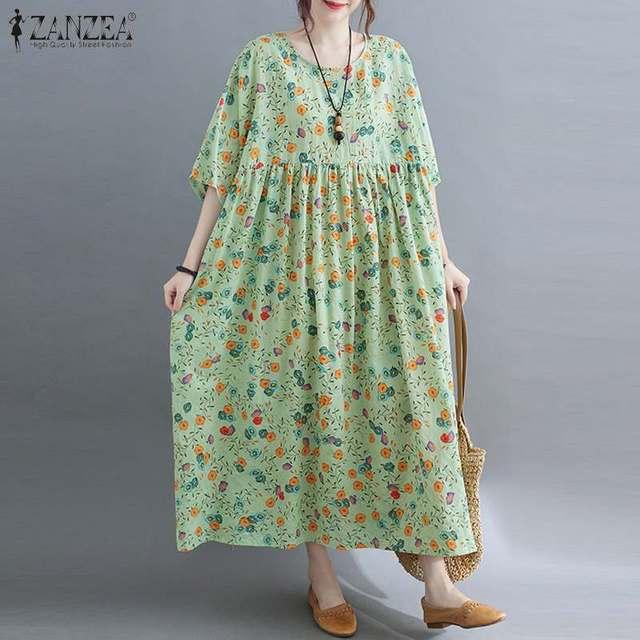 ZANZEA Women Vintage Floral Printed Long Dress Summer Half Sleeve Baggy Beach Vestidos Plus Size Casual Loose Sundress Femme 3