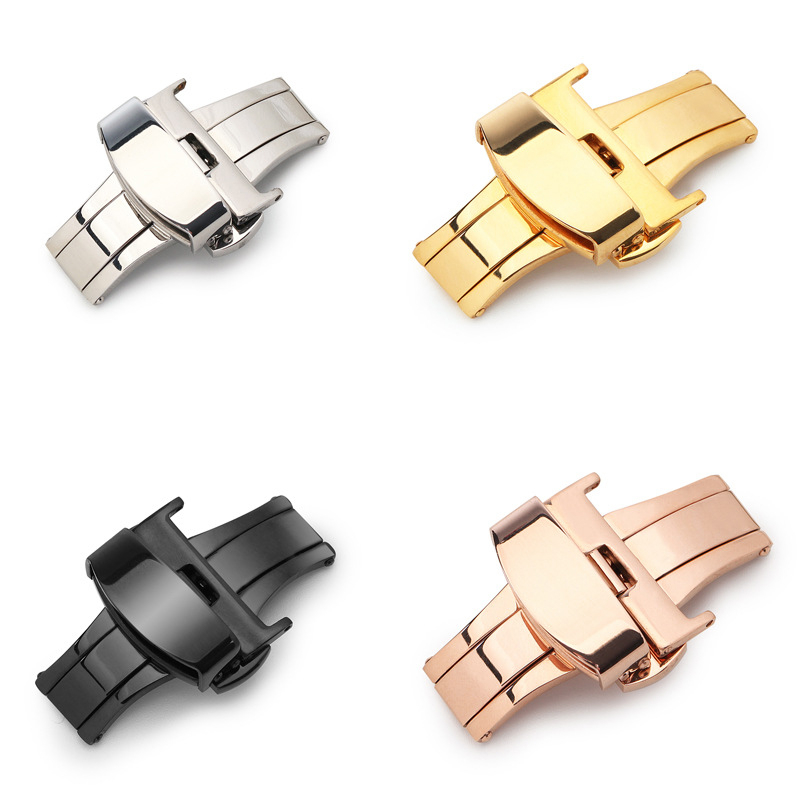 Fashion Watch button Accessory 10 12 14 16 18 20 22 24mm Nonautomatic Double Press Butterfly Buckle Watch Stainless Steel Clasp