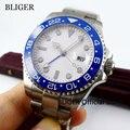 Классический BLIGER 43 мм белый стерильный циферблат синий керамический ободок функция GMT сапфировое стекло автоматическое движение Мужские ч...