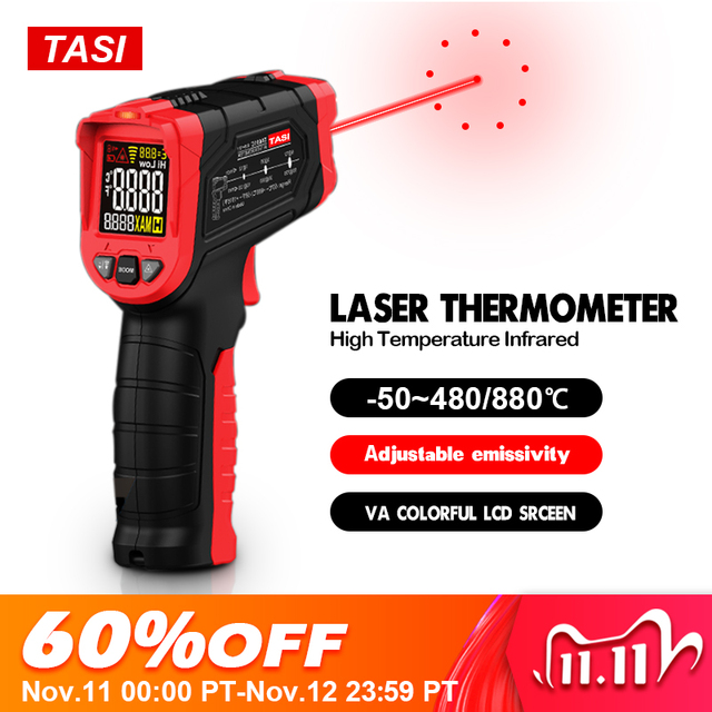 TASI 880 Degrees Celsius Colorful Display High Temperature Infrared Laser Thermometer