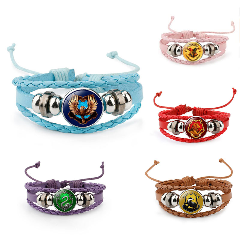 2019 Harri Necklace Series Potter Magic Gifts Death Hallows Action Figure Retro Leather Cord Bracelet Golden Wings Owl Necklace