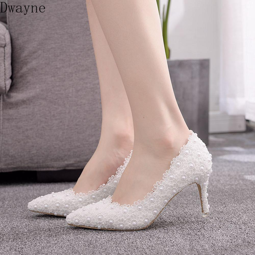 7cm Pointed Small Stiletto Heel Single Shoes Shallow Mouth Fashion Large Size Women's High Heel Lace Bridesmaid Wedding Shoes