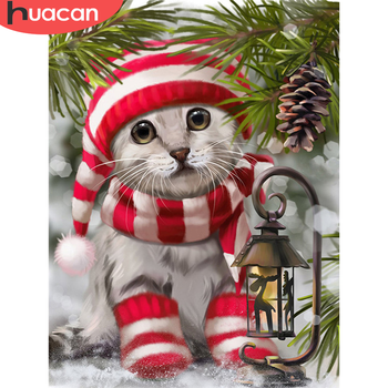 HUACAN 5D Diamond Painting Cat Rhinestones Kit Full Square Round Drill Mosaic Animal Handicraft Home Decoration - discount item  32% OFF Arts,Crafts & Sewing