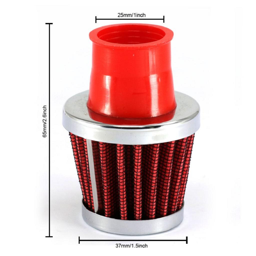 High Flow Universal Cold Air Intake Filter Cone 25mm/1'' Red