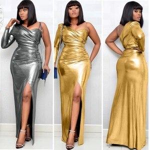 Image 1 - فساتين أفريقية للنساء الجديدة الأكثر مبيعًا ملونة البرنز نساء حفلة فستان طويل الخامس الرقبة فتاة أصغر فستان طويل