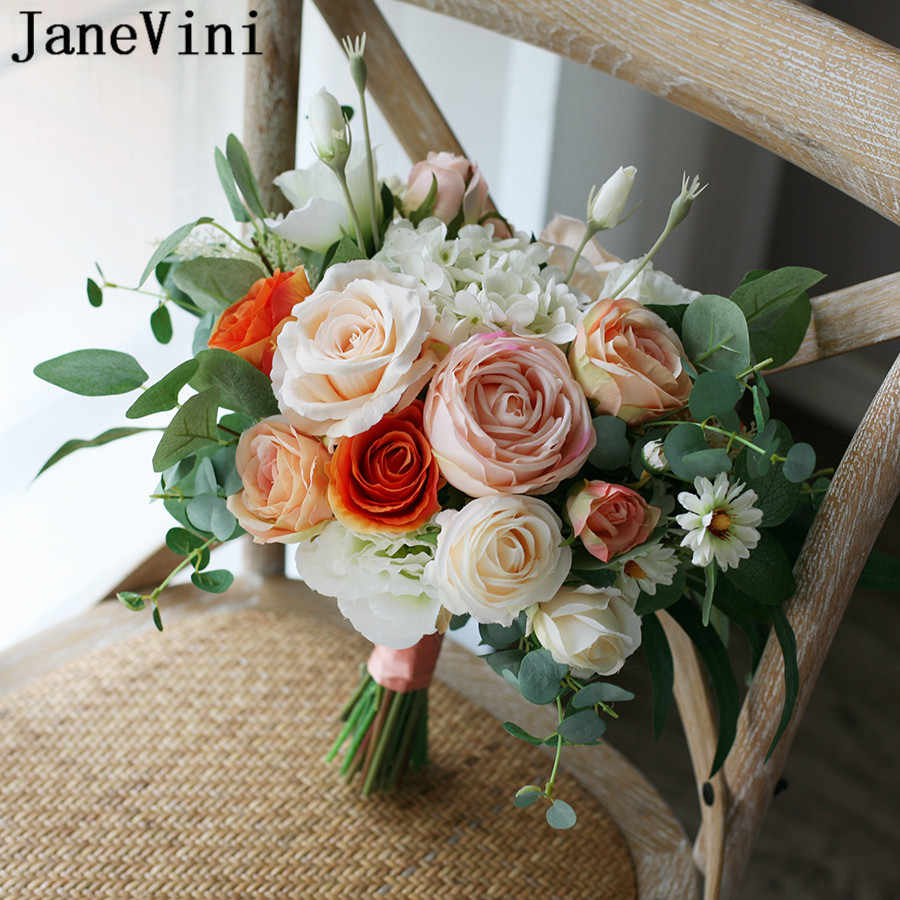 JaneVini Orange Champagne Wedding Bouquet Photo Charm Warm Tones Autumn Artificial Rose ramos de flores Bridal Flowers Bouquets
