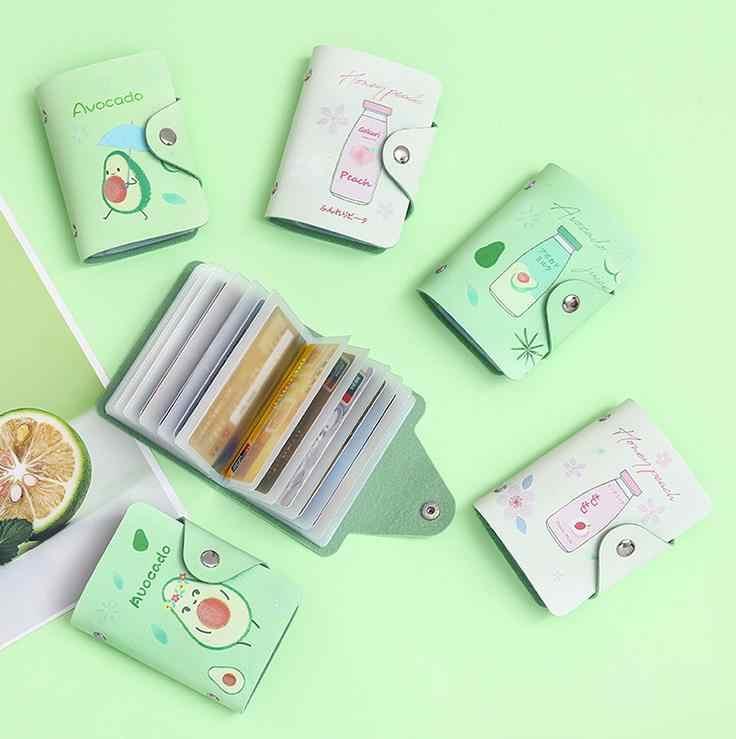 1 Pcs Cute Fruit Avocado Peach Milk Drinks PU Card Holders Women Lady Passport Credit ID Business Card Wallet Coin Case Bag Gift