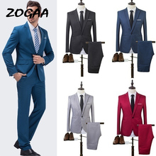 ZOGAA 2019 High Quality Men Fashion Slim Suits Male Business