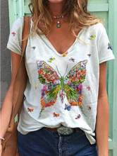 2021 neue Frauen Casual T-Shirt Sommer Schmetterling Drucken Eleganten V-ausschnitt Weibliche Kleidung Kurzarm Tops Lose Mode Dame T-Shirt