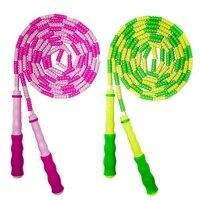 2 упаковки детская скакалка оборудование для фитнеса для девочек и мальчиков, регулируемая Сегментированная веревка розовый и зеленый