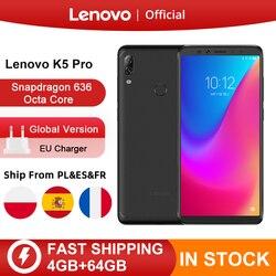 Оригинальная глобальная версия Lenovo K5 Pro 4 ГБ ОЗУ 64 Гб Восьмиядерный Snapdragon 636 четыре камеры 5,99 дюйма 4G LTE смартфон