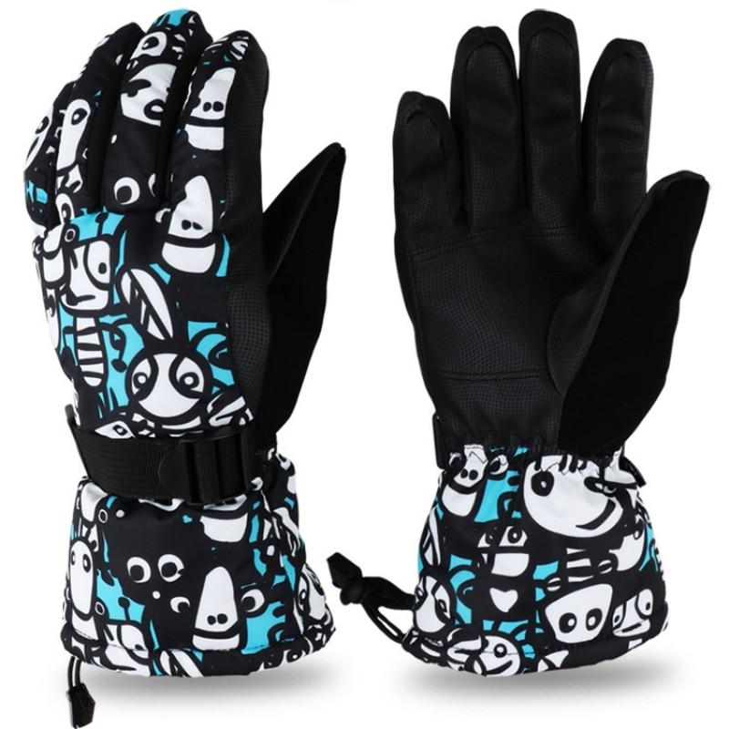 Водонепроницаемые и ветрозащитные флисовые лыжные перчатки снегоходные перчатки спортивные Нескользящие износостойкие альпийские лыжны...