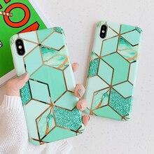 Funda de teléfono de mármol de oro galvanizado brillante para iphone XS XR XS Max 6 6S 7 8 Plus funda trasera de silicona suave geométrica artística capa
