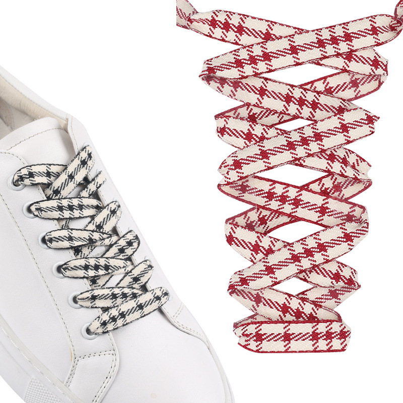 Checkered Shoelaces Black White Grid Shoe Lace Polyester Ribbon Sneaker 120CM