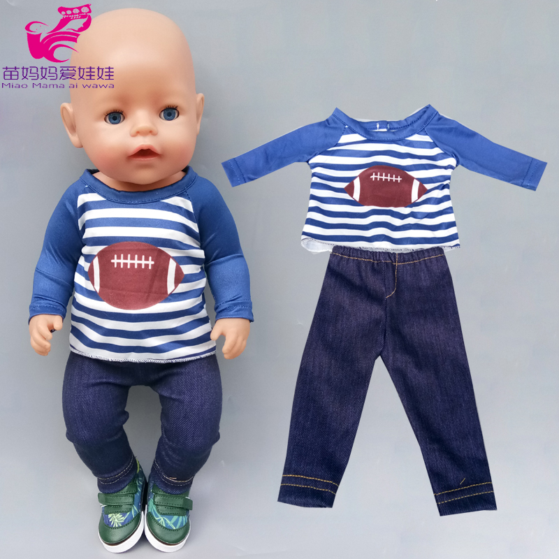 43cm Baby Doll Boy Sport Shirt Sweater Jeans Pants 18 Inch Boy Doll Girl Toys Clothes Coat Underpants Shorts