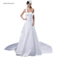 A Line Wedding Dresses For Bride With Straps 2019 New Arrival Womans Elegant Gowns Chapel Train Satin Bridal