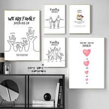 Cuadro en lienzo personalizado para decoración del hogar, pósteres de aniversario, dibujo animado, para sala de estar