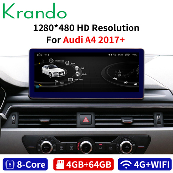 Krando Android 8.1 10.25'' car radio player for Audi A4 A4L 2017+ gps navigation multimedia player with bluetooth