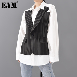 [EAM] Women Black Striped Stitch Big size Blouse New Lapel Long Sleeve Loose Fit Shirt Fashion Tide Spring Summer 2021 1W022