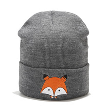 Женская зимняя Лыжная шапочка, шапка для женщин и мужчин, вязаная шапка с лисой, шапка в стиле хип-хоп без полей, Кепка с часами для девочек, шапки для женщин