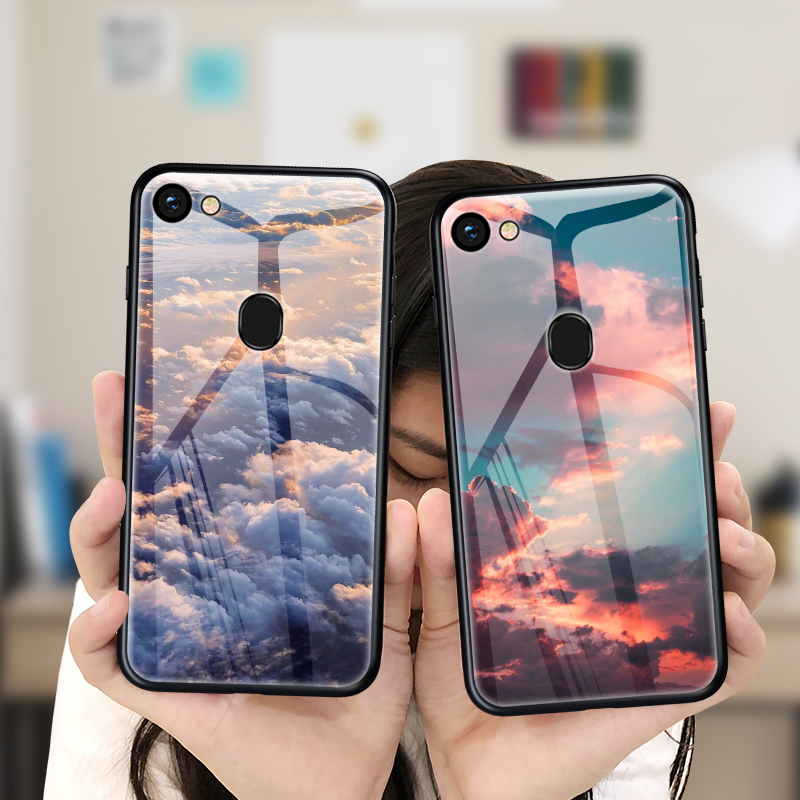 Tempered Glass <font><b>Phone</b></font> <font><b>Case</b></font> For <font><b>OPPO</b></font> F11 F5 F1s F9 <font><b>A3s</b></font> A5s A7X A79 A75 A59 A57 A83 A85 A1 A3 A5 A7 A9 Luxury Cloud Sea Cover image