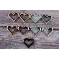 3pcs Heart Magnetic Glass Floating Charm Locket Stainless Steel Rhinestone Plain Memory Locket Sweet DIY Gift