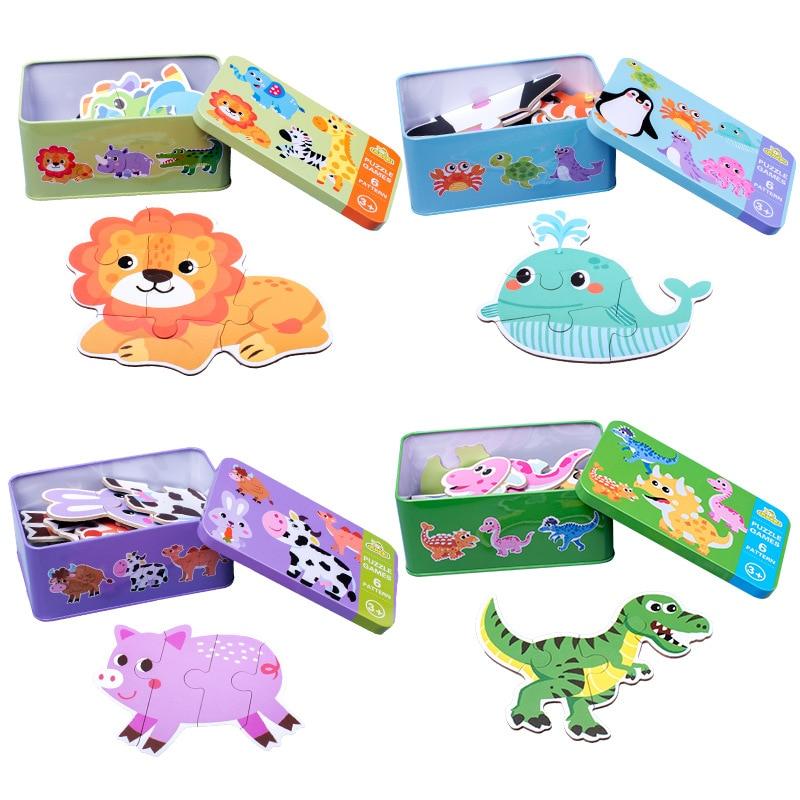 Children Cartoon Animal Traffic Dinosaur Iron Box Wooden Jigsaw Puzzle Kindergarten Baby Kids Educational Puzzle Toy