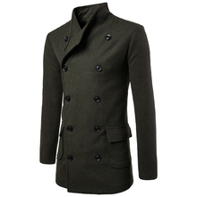 цены Woolen coat  winter  men's fashion lapel collar lace-up waist design woolen coat men's casual double-breasted long trench coat