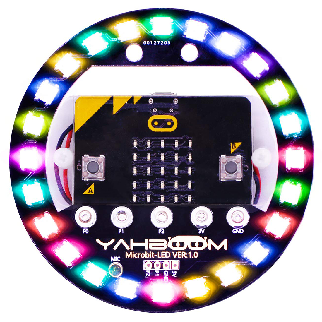 Micro:bit Halo Programmable Expansion Board Compatible With Arduino Voice Control Colorful LED RGB Lights (Without Micro:bit )