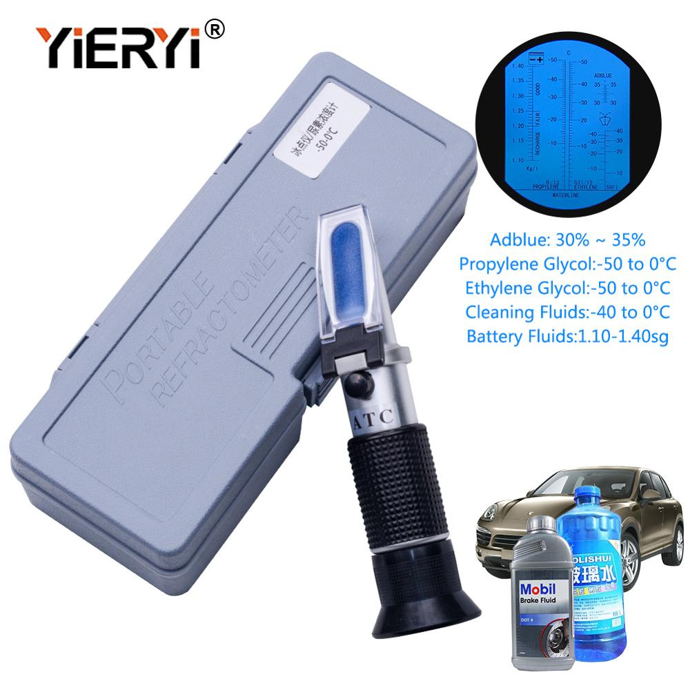 Yieryi Hand Held Tester Tool 4 In 1 Engine Fluid Glycol Antifreeze Freezing Point Car Battery Refractometer W ATC With The Box