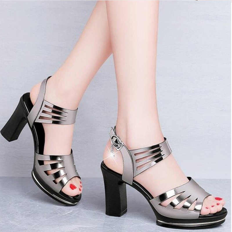 Kobiety letnie sandały PU wysokie obcasy buty kobieta klamra Open Toe panie Rhinestone moda drążą kobiece buty nowy 2020